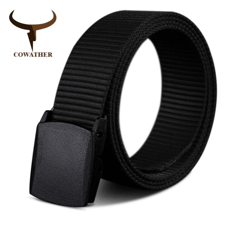 COWATHER 110 130 150 170 cm longue grande taille nouvelle nylon matériel mens ceinture militaire extérieure tactique mâle jeans ceintures pour hommes de luxe