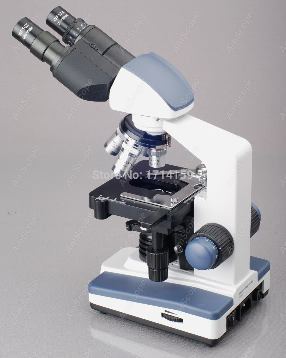 school and  clinic -AmScope Supplies 40X-1000X LED Lab Binocular Compound Microscope w 3D Two-Layer Mechanical Stage