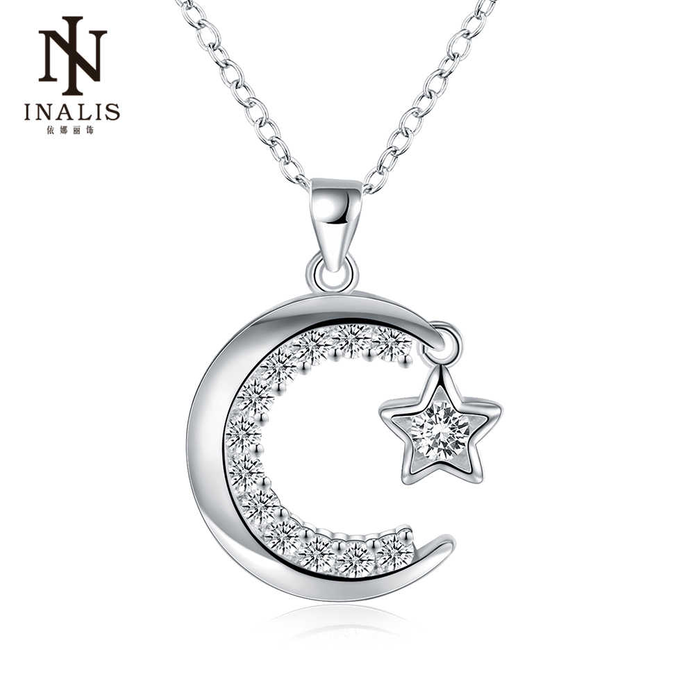 INALIS Fashion Moon Star Pendant Necklace Silver Color Statement Chain Necklace New Necklace Fine Jewelry for Women