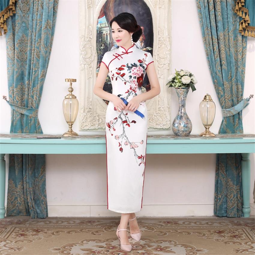 Chinese Traditional Woman Cheongsam Wedding Floral Retro Dress Women Silk Satin Elegant Qipao Vintage Slim Dresses for Female