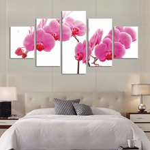 Modular Picture Kids Room Poster 5 Panel Peach Blossom Flower Modern Frameworks For Paintings Decor Canvas Art Prints Wall special design frame paintings peach blossom print 2pcs
