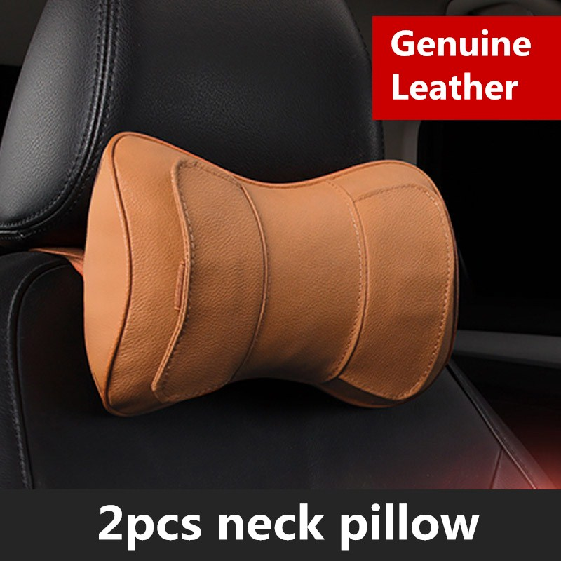 Genuine Leather Car Seat Headrest Pillow Black Auto Neck Support Head Cushion Pillows PP Cotton Seats Accessories Car Styling