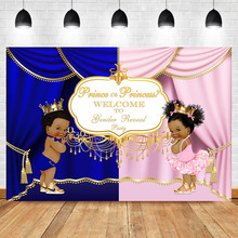Prince or Princess Gender Reveal Backdrop Royal Pink Blue Curtain Photography Background Banner Backdrops
