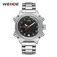 WEIDE Новинка 2019 года для мужчин's повседневные спортивные часы кварцевые Цифровой нержавеющая сталь Ремешок защищенные часы водонепроница