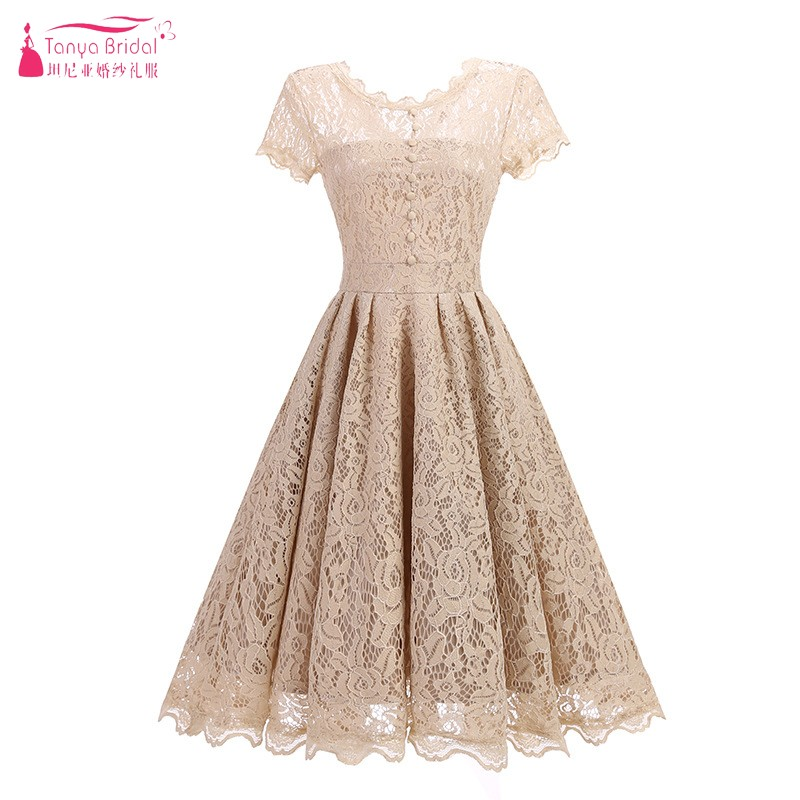 Scoop Neck Short Sleeves   Bridesmaid     Dresses   Knee Length Lace Wedding Guest   Dress   Party Gown Vintage   Dress   DQG603