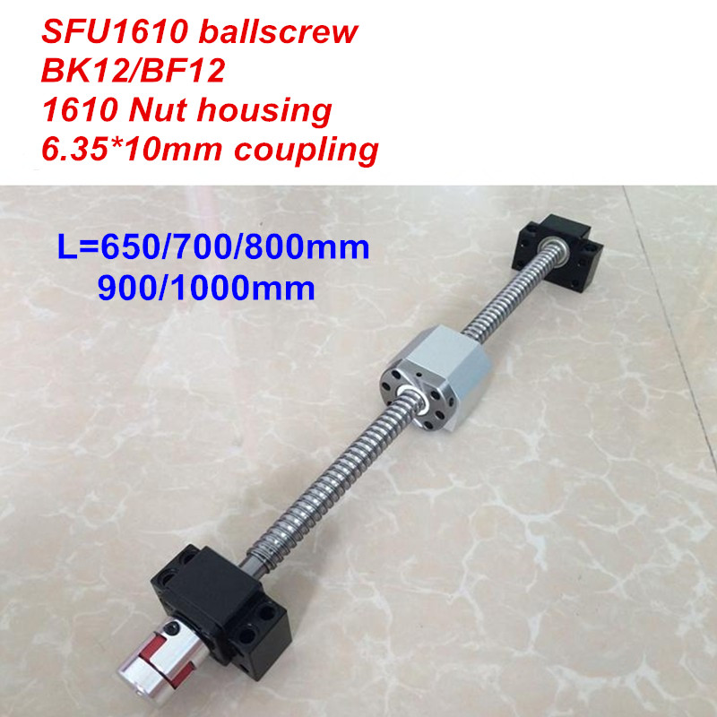 SFU1610 650mm 700 800 900 1000mm ballscrew BK12 BF12 1610 nut Housing 6 35 10 Coupler