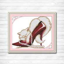 Fashion high heels and a cat counted print on canvas DMC 14CT 11CT Cross Stitch kits embroidery needlework Set Crafts Home Decor