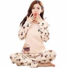 Brand Spring Autumn Long Sleeved Cotton Women's Pajamas Set Cartoon Sleepwear Girls Pyjamas Mujer Lady Casual Home Clothing 4XL