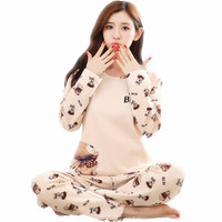 2016 Spring Fall Winter 100 Cotton Women Pajamas Set Of Sleepshirt Trousers Lovely Sleepwear Lady Casual