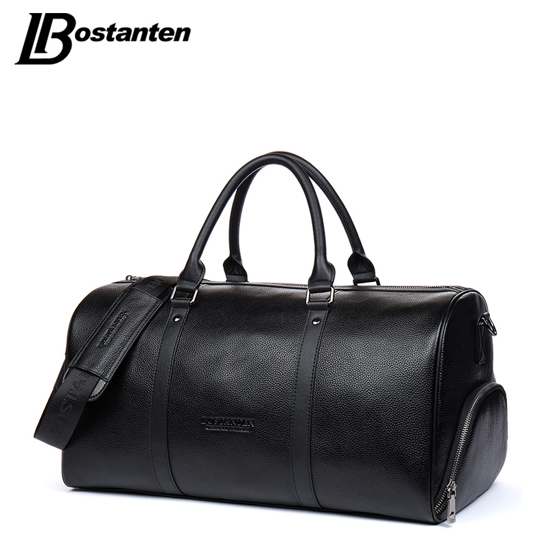 BOSTANTEN Genuine Leather Men Travel Bags Overnight Duffel Bag Weekend Travel Large Tote Bags Crossbody Travel Bags augur new canvas leather carry on luggage bags men travel bags men travel tote large capacity weekend bag overnight duffel bags