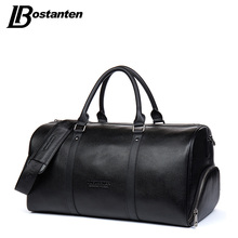 BOSTANTEN Genuine Leather Travel Weekender Overnight Duffel Bag Gym Sports Luggage Bags For Men Travel Bags For Suits