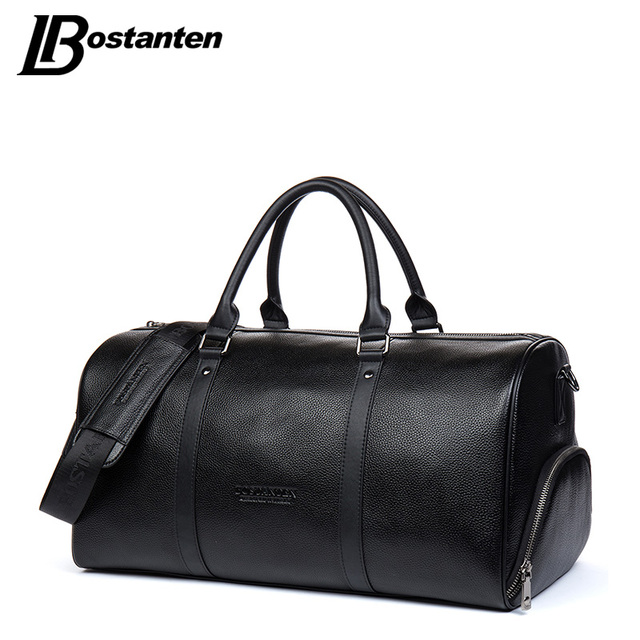 e7f100ca905f BOSTANTEN Genuine Leather Men Travel Bags Overnight Duffel Bag Weekend  Travel Large Tote Bags Crossbody Travel