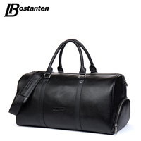 BOSTANTEN Genuine Leather Men Travel Bags Overnight Duffel Bag Weekend Travel Large Tote Bags Crossbody Travel Bags