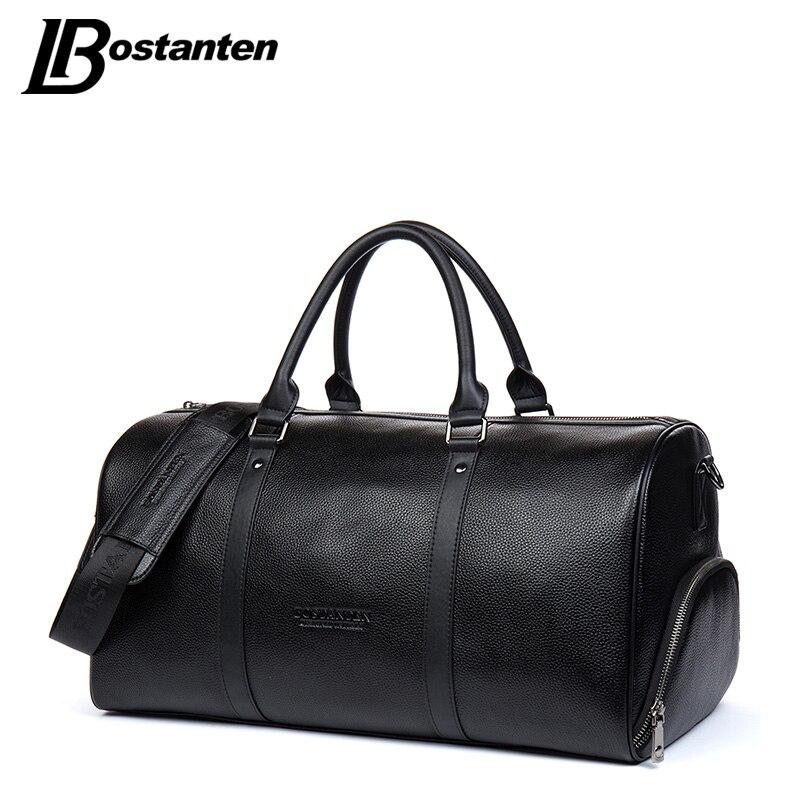 BOSTANTEN Genuine Leather Men Travel Bags Overnight Duffel Bag Weekend Travel Large Tote Bags Crossbody Travel Bags