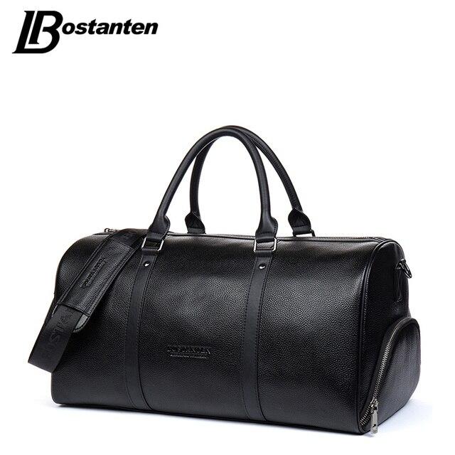 0aa71aa58 BOSTANTEN bolsas de viaje de cuero genuino para hombre bolsa de lona de  viaje de fin