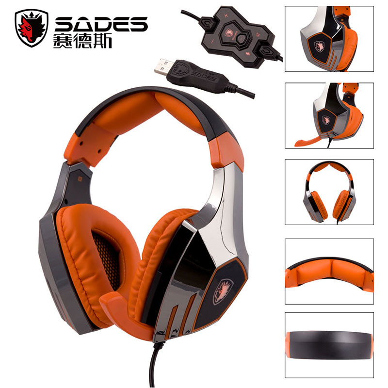 SADES A60 7.1 Sound Track Gaming Headset Earphone Headphone With Mic Stereo Bass Three Color LED Lamp Breathing For PC Game factory price binmer sades 7 1 surround sound bass headband gaming headset cobra design jy29 drop shipping
