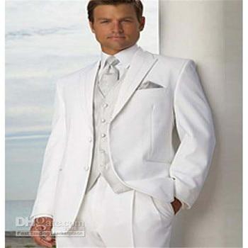New Design 4 pics Men's Suit Men business Dress 2 Buttons White wedding men's slim clothing Groom Suit(Jacket+Pants+Tie+Vest)
