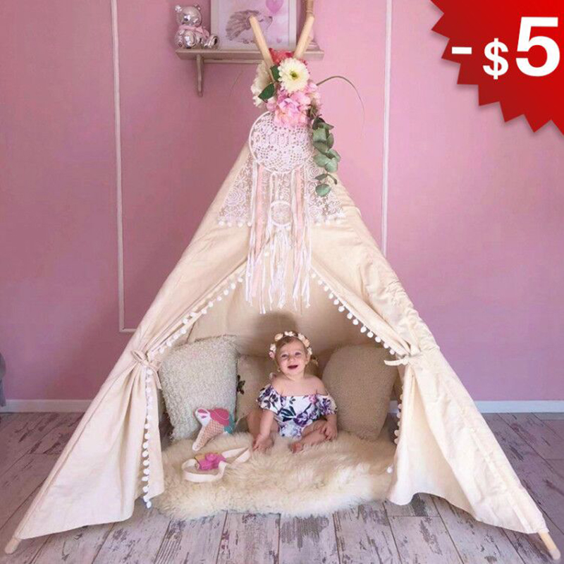 Cotton Canvas Tipi Tent Toys for Children Lace Teepee for Kids Girls Playhouse Birthday Gifts Indoor Game Room 4 Poles