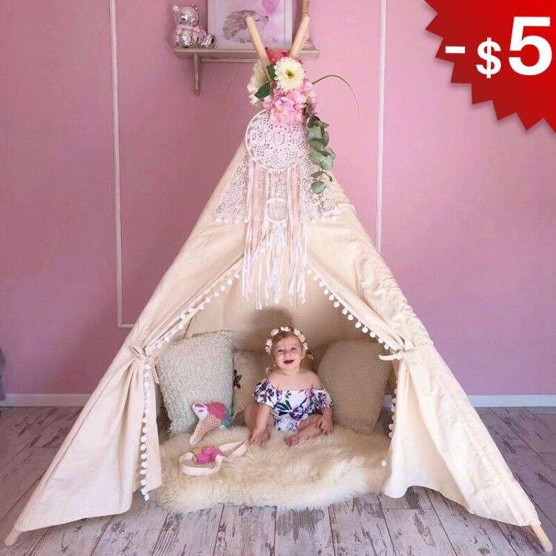 Lona de algodón Tipi tienda de juguetes para niños Tipi de encaje para niños niñas Playhouse regalos de cumpleaños sala de juegos de interior 4 polos