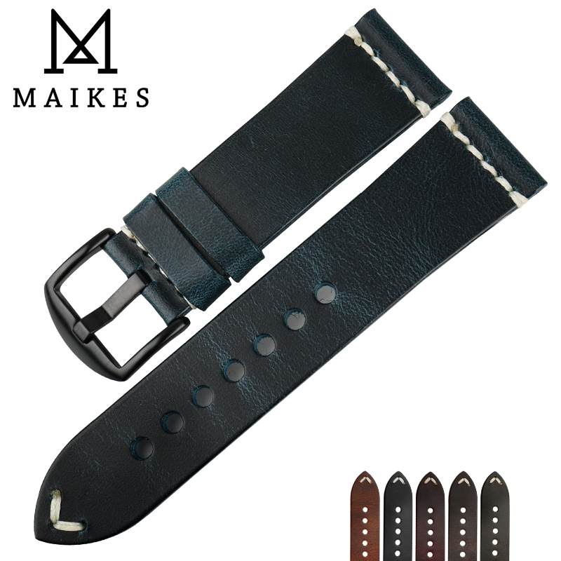 MAIKES High Quality Drak Blue Leather WatchBand 22mm 24mm With Black / White Stainless Steel Pin Buckle Wrist Watch Bracelets hot selling high quality new arrival genuine leather watchband carbon fiber straps 22mm with stainless steel buckle