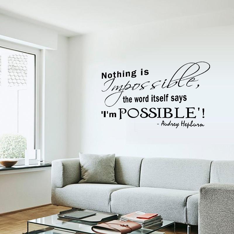 オードリー · ヘップバーン の壁引用デ カール ステッカー何も不可能を ワード自体言う私は可能な英語ことわざ壁アップリケ