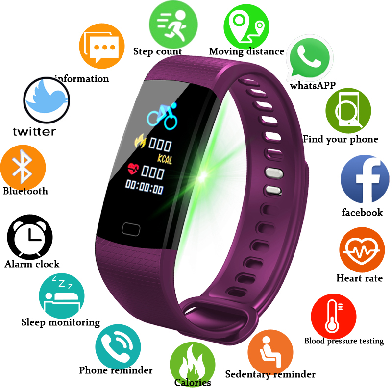 Smart Band Watch Color Screen Wristband Heart Rate Monitoring Smart Activity Fitness Tracking Smart Bracelet for Android IOS