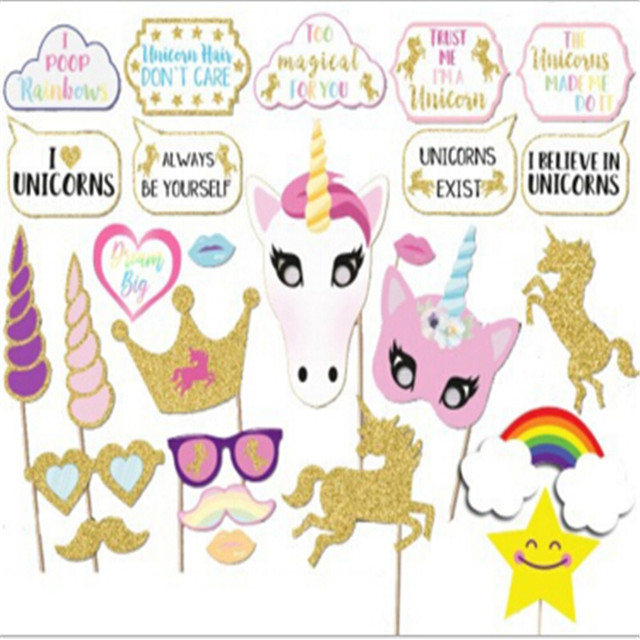 26pcspack Diy Unicorn Photo Booth Props With Wood Stick Paper