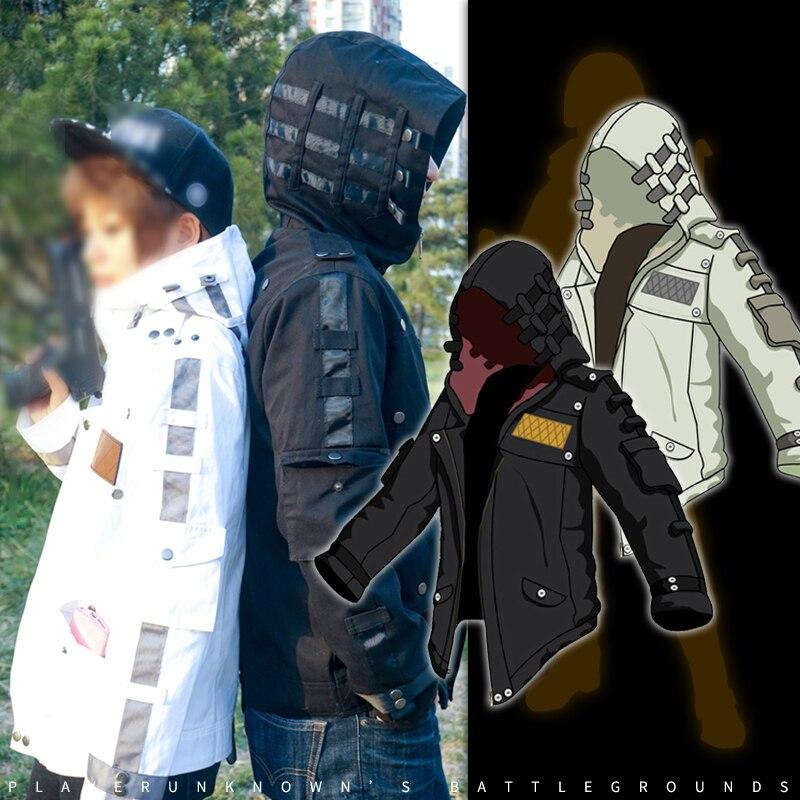 Anime joueurs champs de bataille jeu pubg jeu manteau mince épais Cosplay manteau unisexe blanc noir hommes Outwear hiver jeu veste