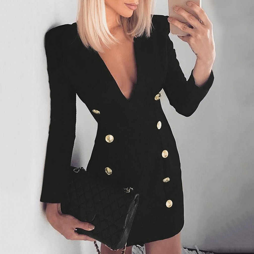 fbcb88b121 Women Deep V Neck Blazer Dress Female Formal Long Sleeve Double-breasted  Slim Bodycon Short
