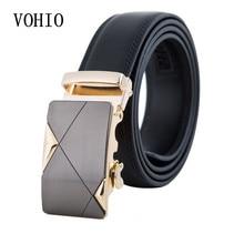 все цены на VOHIO Men's genuine leather belt ceinture Automatic buckle silver buckle men belt leather Black  Brown uomo riem3.5 wide 130cm онлайн