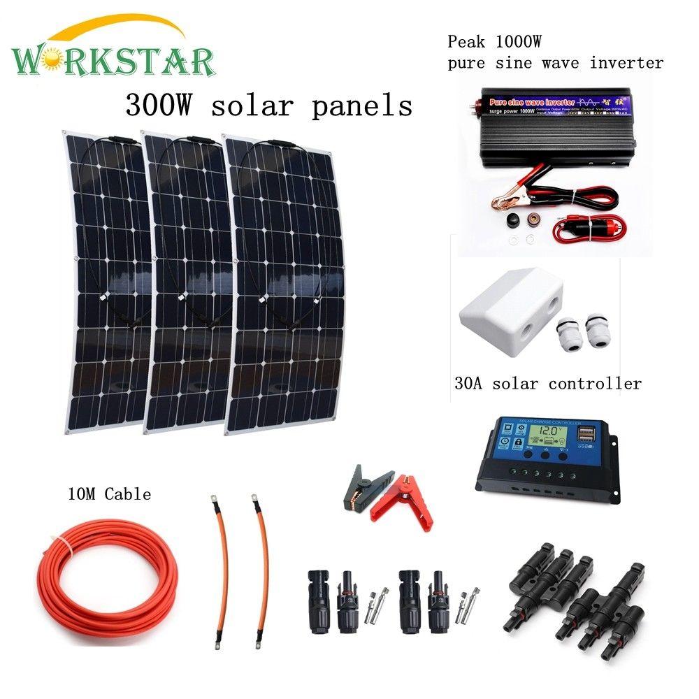 Completo 300 W Sistema Solare per Principianti 3X100 W pannello Solare 1000 w Inverter con Accessori di Montaggio Per Yacht CAMPER Barca