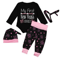 Christmas Gift 1Set Infant Baby Boy Girl Clothes Romper Pants Leggings 4PCS New Year S Outfits