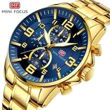 Minifocs الرجال الساعات الفولاذ المقاوم للصدأ الذهب موضة فاخرة العلامة التجارية ساعة يد رجالي مقاوم للماء كوارتز ساعة معصم Reloj Hombre
