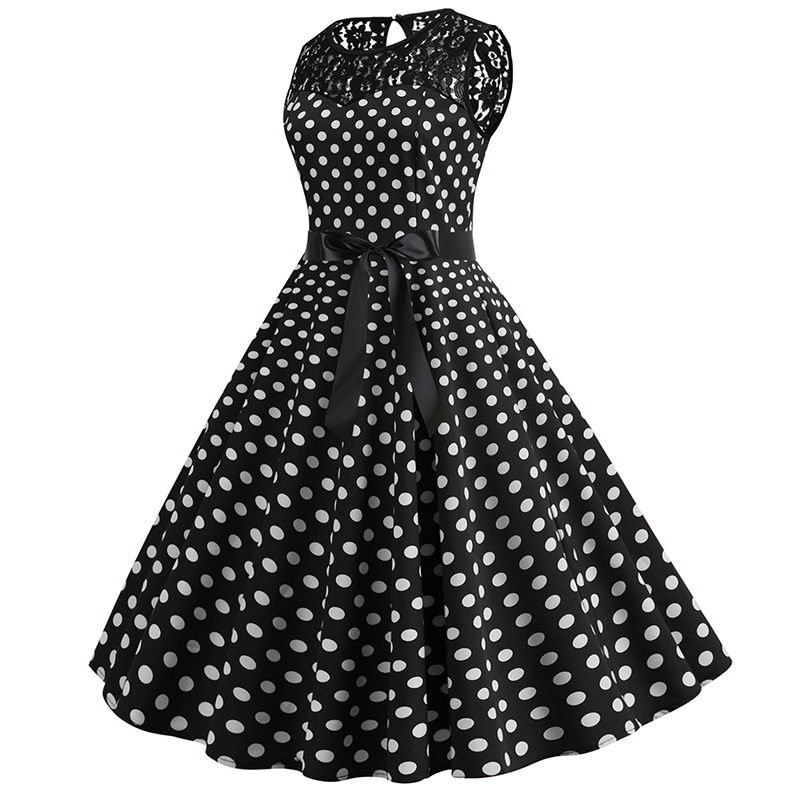 Women Summer Lace Vintage Dress Black Polka Dot Sexy O-neck Beach Dresses Fashion Casual Big Swing Party Robe Plus Size 2