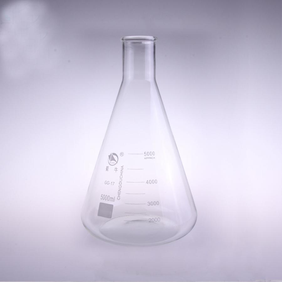 5000ml Narrow Neck Borosilicate Glass Conical Erlenmeyer Flask For Chemistry Laboratory 500ml ptfe erlenmeyer flask teflon conical bottle chemical labware