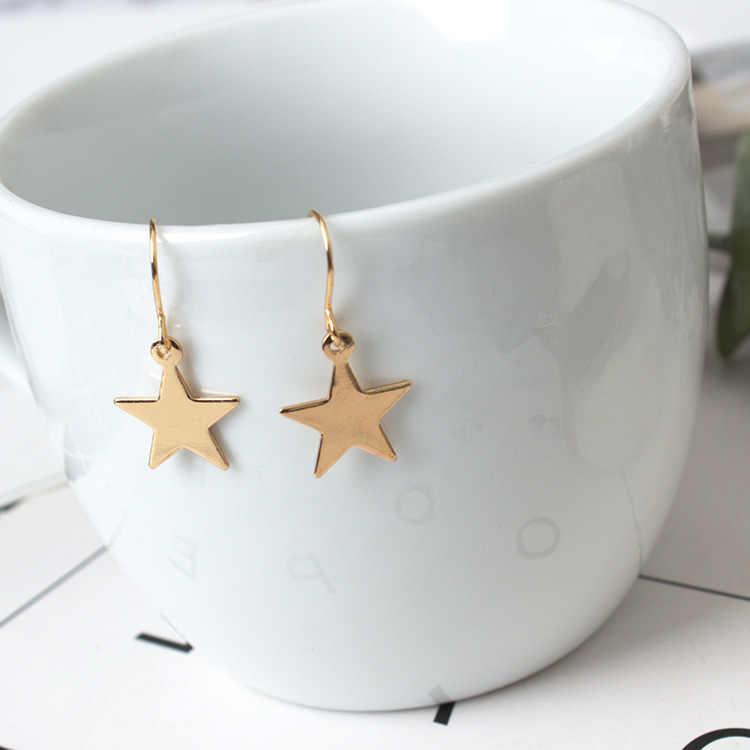 2018 nuevos pendientes de joyería de moda minimalista oro/plata pendientes geométricos lindos estrellas pentagonales al por mayor para mujer