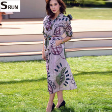 turn down collar double breasted long trench coat 2016 autumn high quality women's coats 802