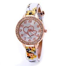 2017 Hot Sale  Loving Heart Women Faux Leather Strap Band Analog Quartz Wrist Watch relogio relojes mujer #04