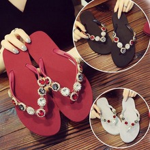 цены New Women Slippers Rhinestone Crystal Flip Flops Home Outside Slipper Bling Beach Sandal Non-Slip Shoes Women Flat Causal Slides