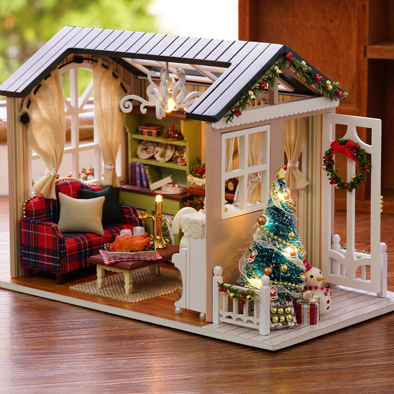 Cutebee casa de bonecas em miniatura diy casa de boneca com móveis de madeira brinquedos para crianças férias z009