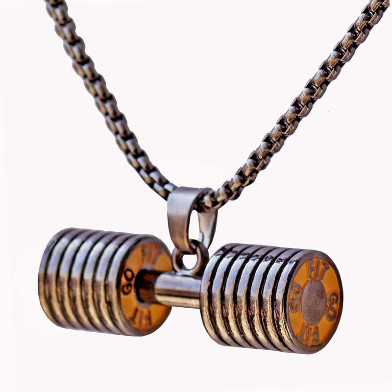 Haltere pingente colares barbell fitness moda esportes jóias em aço - Bijuterias