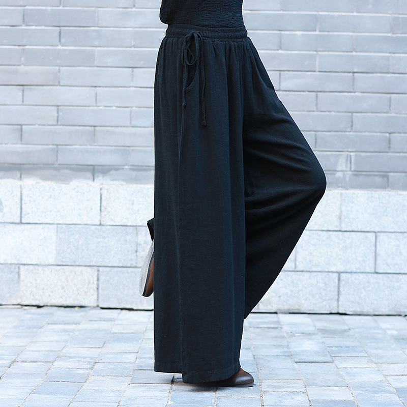ORIGOODS Linen Plus size Wide leg Pants Women Solid Black White Long Pants Loose Casual Autumn 2018 Linen Wide leg Trousers C191