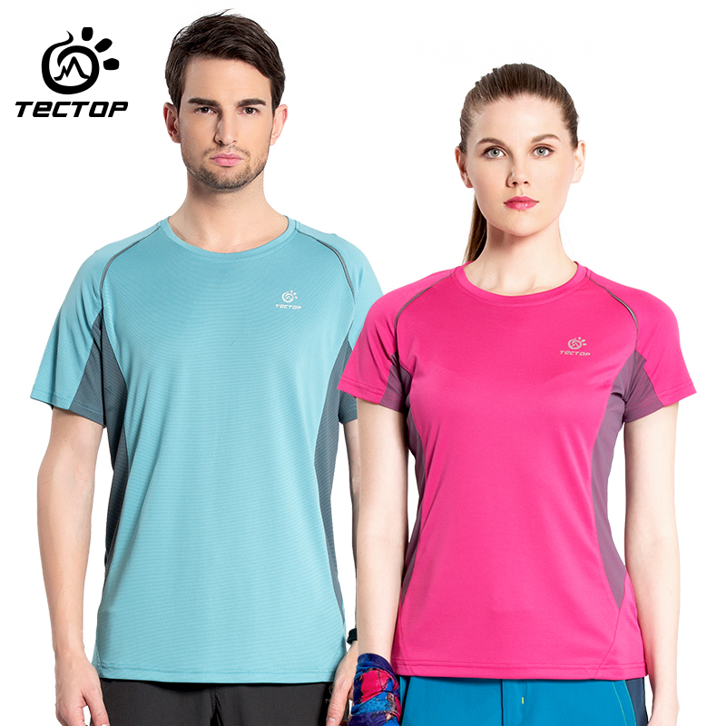 Tectop summer men/women fast drying clothing male quick-drying Women short-sleeve outdoor sports/hiking/camping t-shirt clothes