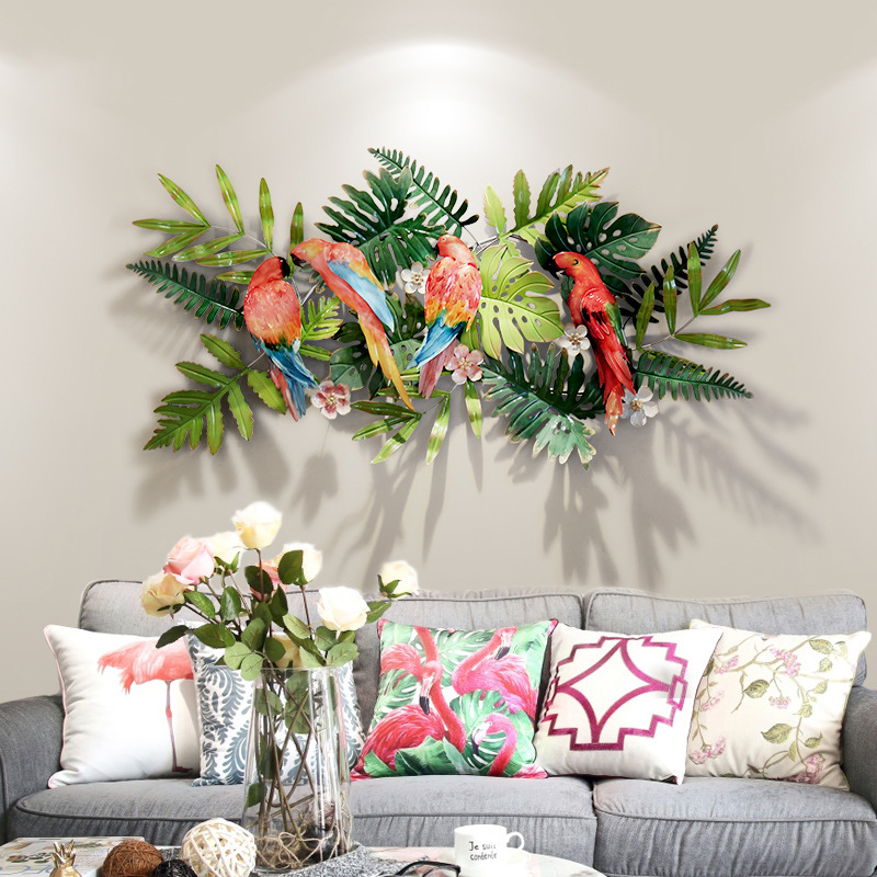 Creative tropical flowers and birds wall decorations Entrance background pendant iron Tropical Flowers and Birds Iron