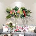 Creativo flores tropicales y pájaros decoración de pared fondo de entrada colgante de hierro flores tropicales y pájaros de hierro
