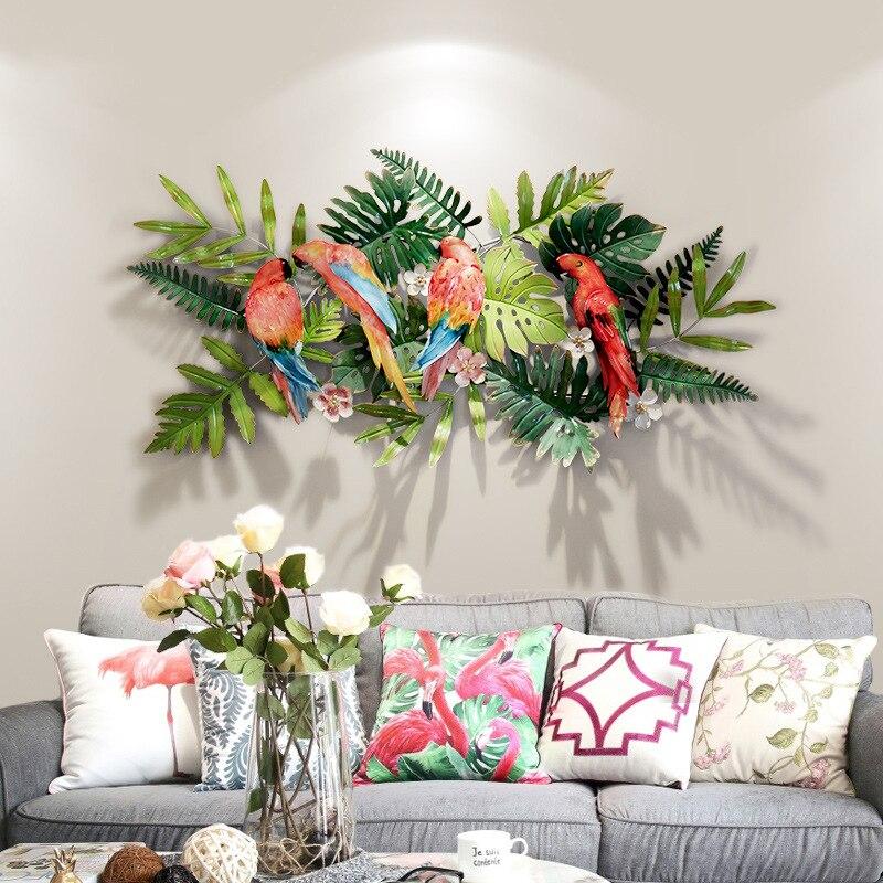 Criativo flores tropicais e aves decorações de parede Entrada fundo de ferro pingente de Flores Tropicais e Pássaros de Ferro