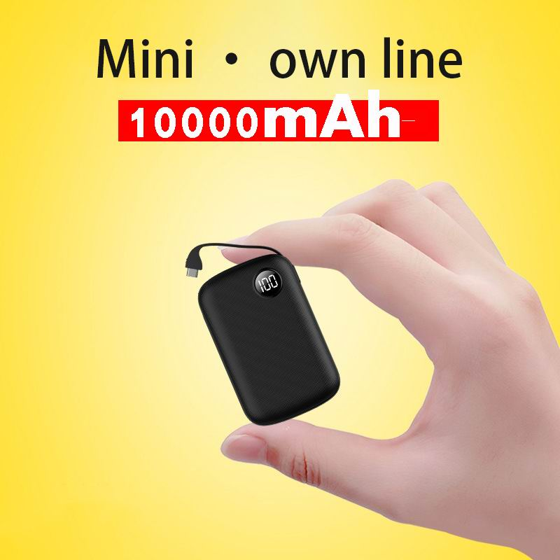 10000mAh Portable Charger Mini Power Bank <font><b>10000</b></font> Powerbank with Built in Cable External Battery Poverbank For iPhone Xiaomi Mi 9 image