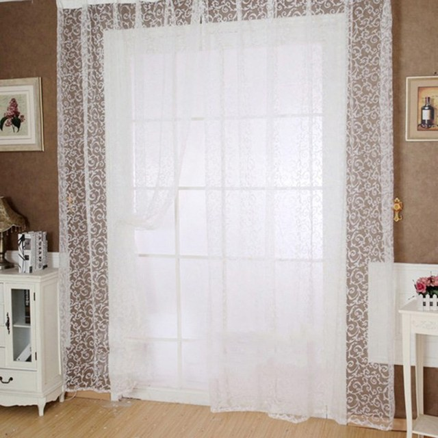 Transparent Room Divider Part - 25: 5 Sizes White Voile Curtain Drapery Transparent Panel Window Room Divider  Sheer Home Room Textiles Curtain Tulle Curtains