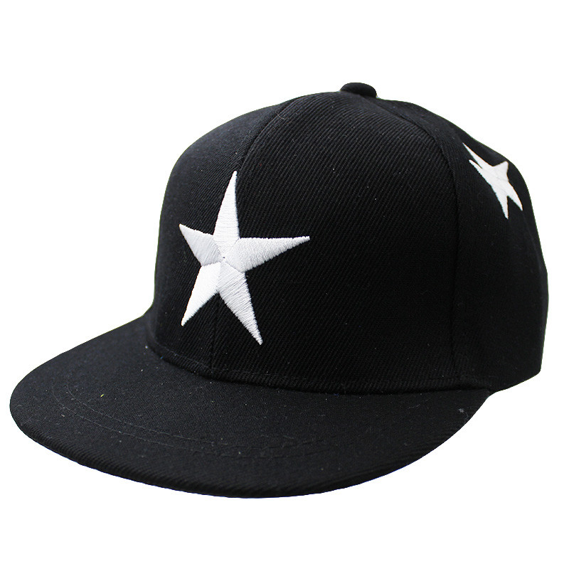 Embroidered Star Children's Snapback Cap - Black