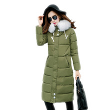 2016 New Fashion Winter Cotton Padded Jacket Women Slim Thick Female Coat Parka Warm Long Jackets Ladies Overcoat Doudoune Femme